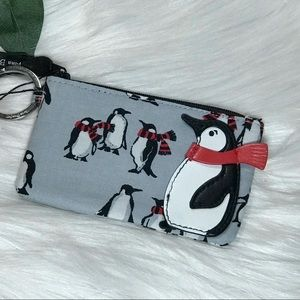 Vera Bradley Zip ID Case Playful Penguins Gray NWT